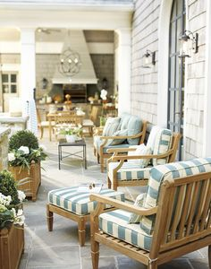 A wide cabana stripe is utterly chic in backyard spaces. Outdoor Areas, Outdoor Rooms, Outdoor Dining, Outdoor Furniture Sets, Outdoor Decor, Outdoor Patios, Outdoor Kitchens, Outdoor Seating, Home Furnishings