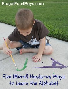 Five hands-on ways to learn the alphabet using materials from around the house!