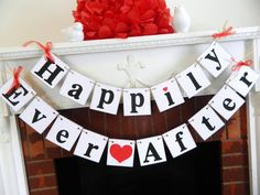 Rustic HAPPILY EVER AFTER Wedding Banner -  Wedding Reception Decor - Wedding Car Sign You Pick the Colors by anyoccasionbanners on Etsy