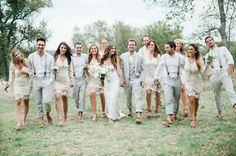 Beautiful bohemian wedding with wedding party on the grounds at Vista West Ranch in Dripping Springs, Texas in the Hill Country.