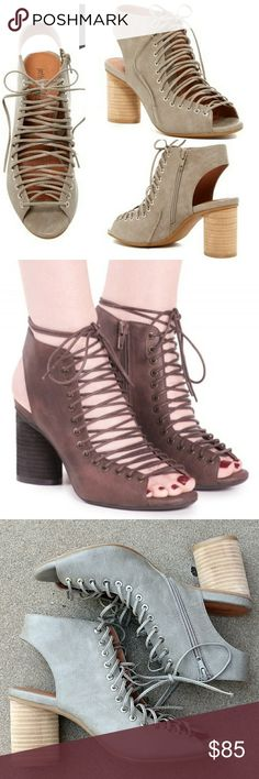 """New JEFFREY CAMPBELL Covets Lace Up Sandal - Open toe - Lace-up with side zip closure - Lightly padded insole - Exposed heel counter - Stacked circular heel - Approx. 3.5"""" shaft height - Approx. 3.25"""" heel  Never worn, some minor discolorations on heel, see pics.  Overall excellent condition.  Size 9.5.  No box, no trades.  Color appears as a gray/taupe. Jeffrey Campbell Shoes Heels"""