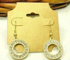 Monet CZ Diamond Circle Matt Gold Tone Dangle Earrings - Earrings... SUMMER CLEARANCE SALE $2.00 free ship!