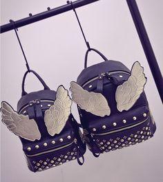 new style fba82 7db70 2016 Brand Bags Fashion PU Leather Angel Wings Backpack Ladies Fashion  Style Mochila Bolsas Femininas School