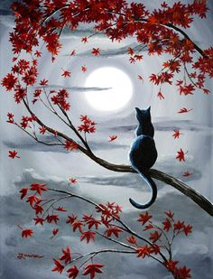 Black Cat in Silvery Moonlight Original Acrylic Painting