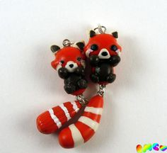 Cute Kawaii Polymer Clay Red Panda Charm by RachelMarieClay, $6.00