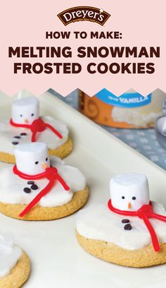 How do you get the look of melting snow you ask? Dreyer's Slow Churned Vanilla light ice cream of course! Along with marshmallows, licorice, mini chocolate chips, and sprinkles, you can your kids can make this recipe for Melting Snowman Frosted Cookies with your kids during the holiday season.
