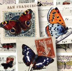 100-year-old postcards meet 125-year-old butterfly engravings. CD full of 46 different printable collage sheets, by piddix.