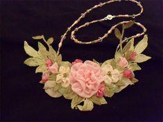 Ribbonwork necklace.