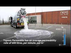 Topmix Permeable is een nieuw soort cement dat razendsnel een grote hoeveelheid water kan absorberen (zie onderstaand filmpje). Dit kan mogelijk een interessante ontwikkeling zijn voor steden waar veel wateroverlast is.