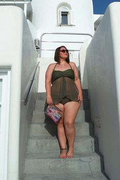 sheer khaki tankini Plus size, photos made in santorini
