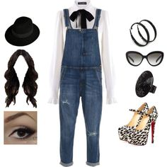 Stylish Overall by teodoramaria98 on Polyvore featuring Dolce&Gabbana, Current/Elliott, Christian Louboutin, 2b bebe, Maison Michel and Prada