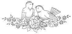 NI 047 a, lovebird embroidery Bird Embroidery, Embroidery Transfers, Embroidery Patterns Free, Hand Embroidery Designs, Vintage Embroidery, Cross Stitch Embroidery, Cross Stitch Patterns, Bird Quilt, Pillowcase Pattern