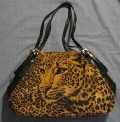 Vintage Kaela Leopard Double Strap Faux Fur Handbag by GoodBuyForNow on Etsy
