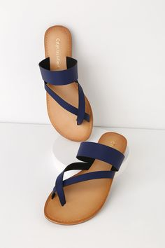 f972502dee9c Cute Navy Sandals - Black Flat Sandals - Toe-Thong Sandals Navy Sandals