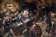 The Last Supper. Tintoretto. Oil on Canvas. 16th C Italy.  Tintoretto has a way of using intense colours, interesting perspective and lighting illusions to portray scenes that are absolutely beautiful.