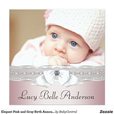 Elegant Pink and Gray Birth Announcements