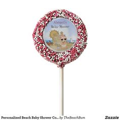 Personalized Beach Baby Shower Cookie Pop Favors Chocolate Dipped Oreo Pop