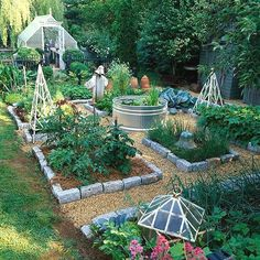 Handsome veggie garden layout-complete with above-ground koi pond in the middle. Backyard Vegetable Gardens, Vegetable Garden Design, Backyard Garden Design, Diy Garden, Backyard Landscaping, Landscaping Ideas, Backyard Ideas, Potager Garden, Garden Paths