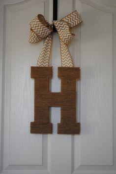 letters for front doorWooden Front Door Letter Hanger  Rope or Ribbon Holder  Welcome