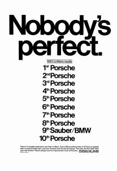 Porsche 1983 - Nobody's perfect.