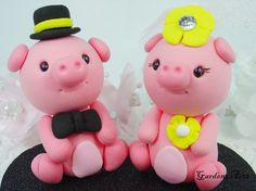 Customise Pink Pig Love Couple Wedding Cake Topper with Heart Base - SPECIAL  FOR 2013. $59.00, via Etsy.