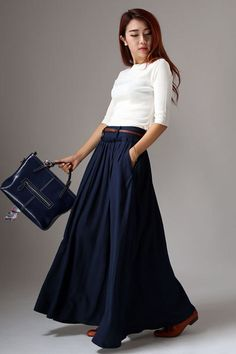 Navy Blue Pleated Skirt - Classic Long Maxi Full Flared Skirt with Side Pockets & Belt Loops (1046) by xiaolizi on Etsy https://www.etsy.com/listing/195901107/navy-blue-pleated-skirt-classic-long