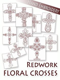Floral Crosses Redwork Hand Embroidery, 10 PATTERNS