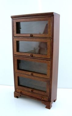 Dollhouse Miniature Study Furniture Barristers Bookcase 4 Glass Doors