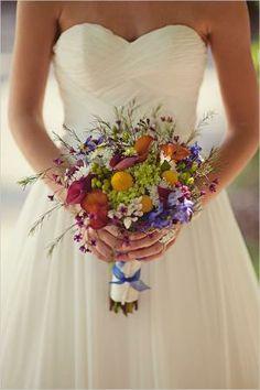 wild flower wedding bouquet, love it against the white
