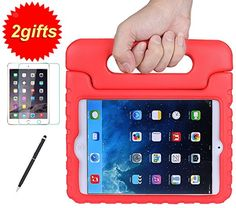 Rød SUPLIK Shockproof Kids Case with Handle Light weight Protective Cover for iPad Mini, iPad Mini 2 with Retina Display,iPad Mini 3rd Generation,+Screen Protector + 2&1 Stylus Pen (Green): Computers & Accessories