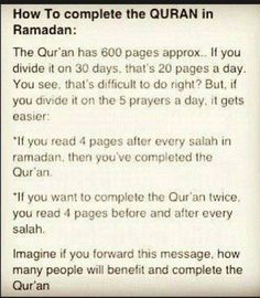 How to complete the Quran in Ramadan.