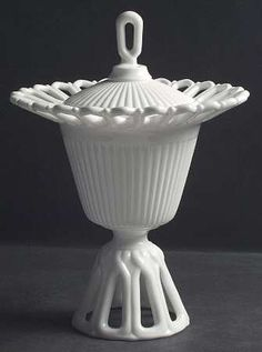 "Fostoria ""Arlington"" Pattern Tall Compote with Lid in Milk Glass (1954-1965)"