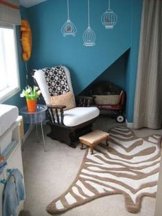 Welcome to the jungle - with this animal print rug.  #animalprintrug #nursery #zebrarug