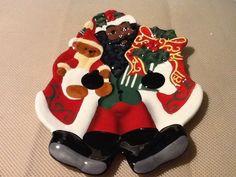 Dillards Afro American Black  Santa Holiday Plate NEW