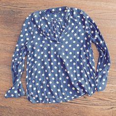 Zara Polka Dot Pullover Blue and white polka dot Zara blouse. Pullover style. Zara Tops Blouses