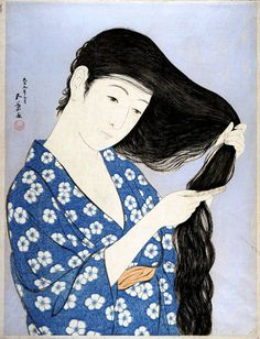 Woman Combing Hair by Hashiguchi Goyo