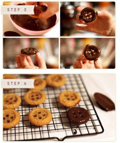 button biscuits / cookies and chocolate... erm, now let me think.