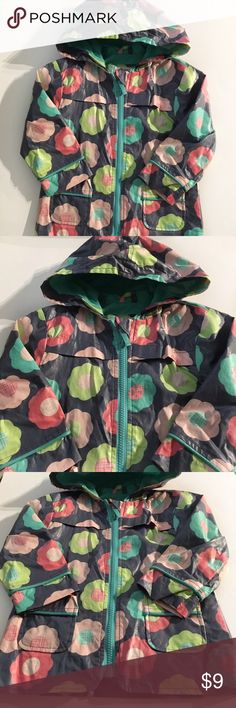 Raincoat Bright and colorful raincoat. Grey with spring colored flowers Circo Jackets & Coats Raincoats