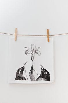Flower Birds White Cloth Napkin Set