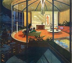 "Motorola 1960s Charles Schridde these ads were motorola's ""House of the future"" ads. I've got quite a fondness for Schridde illustrations"
