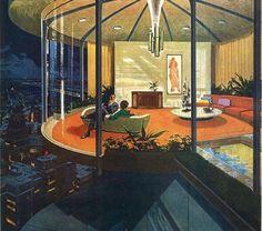"Motorola 1960s Charles Schridde these ads were motorola's ""House of the future"" ads. I've got quite a fondness for Schridde illustrations."