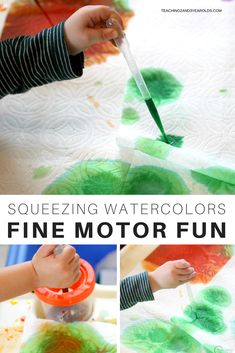 Using pipettes is a great way to strengthen preschool fine motor skills, getting their hands ready for writing. Dropping vibrant watercolors onto paper towels has been a favorite in our 2 and 3 year old classroom for years because it's effective and fun! #teaching2and3yearolds #finemotor #preschool #watercolors #processart #earlychildhood #AGE3