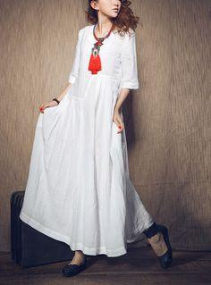 Abito bianco - sposa maxi abito di lino (In Stock)