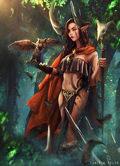 Nature druid by Jackiefelixart.deviantart.com on @DeviantArt - More at https://pinterest.com/supergirlsart/ #female #fantasy #art