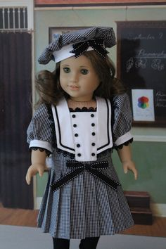 Black and White Middy Dress and Hat for American Girl Doll via Etsy. My American Girl Doll, American Doll Clothes, Ag Doll Clothes, Doll Clothes Patterns, Doll Patterns, Sailor Outfits, Girl Outfits, Sailor Dress, Middy Dress