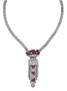 Necklace ca. 1930 via Christie's Ruby Jewelry, Old Jewelry, Stylish Jewelry, High Jewelry, Luxury Jewelry, Antique Jewelry, Vintage Jewelry, Jewlery, Vintage Necklaces