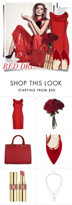 """""""Hot Red Dress"""" by aislinnhamilton1993 ❤ liked on Polyvore featuring Valentino, MICHAEL Michael Kors, Stuart Weitzman, Yves Saint Laurent, Sole Society, women's clothing, women, female, woman and misses"""