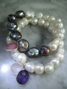 Perlenarmbänder - Charms Armband Perlen Rubin Rosenquarz Shamballa - ein Designerstück von TOMKJustbe bei DaWanda