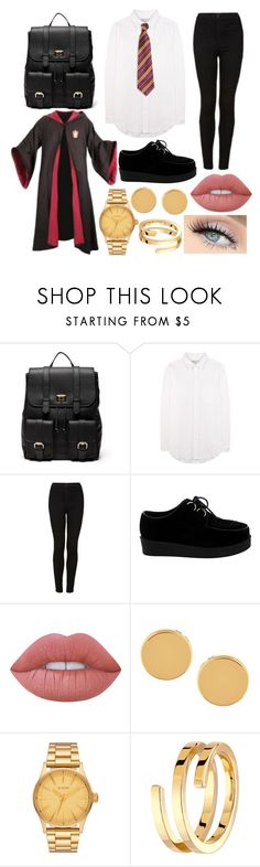 """Third year uniform"" by veryangrycookie ❤ liked on Polyvore featuring Sole Society, Current/Elliott, Topshop, GET LOST, Lime Crime, Trina Turk and Dinh Van"