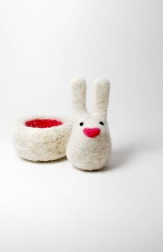 Needle felt white bunny with nest needle felt by needleandfelt,